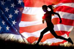 A picture of an American Flag and a female runner in a black sillouette.