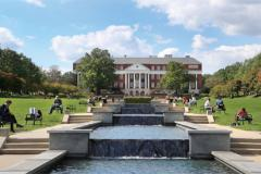 View of McKeldin Mall with students sitting along ODK Fountain.