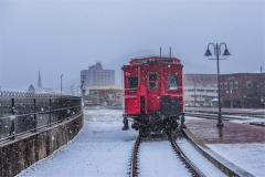 Railroad car in snow