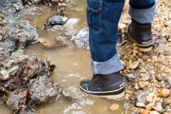 image of foot in dueling creek