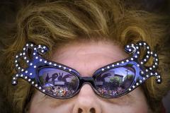 Woman wearing wild sunglasses