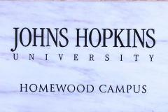 Johns Hopkins University Homewood Campus carved in marble sign
