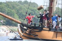 reenactors on ship