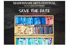 Madonnari Arts Festival poster with colorful chalk