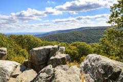 Hikers in Catoctin Mountain Park are rewarded with spectacular views on rocky outcrops.
