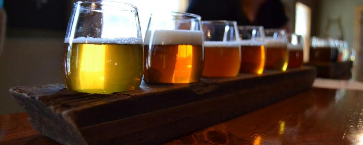 Flight of beer at Red Shedman Farm Brewery