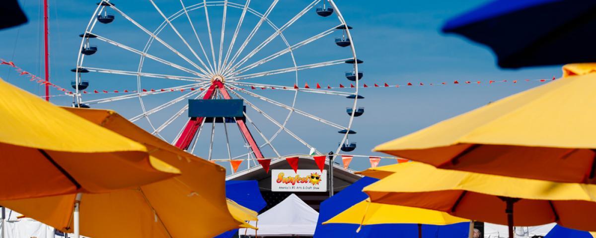OC Sunfest tents and ferris wheel