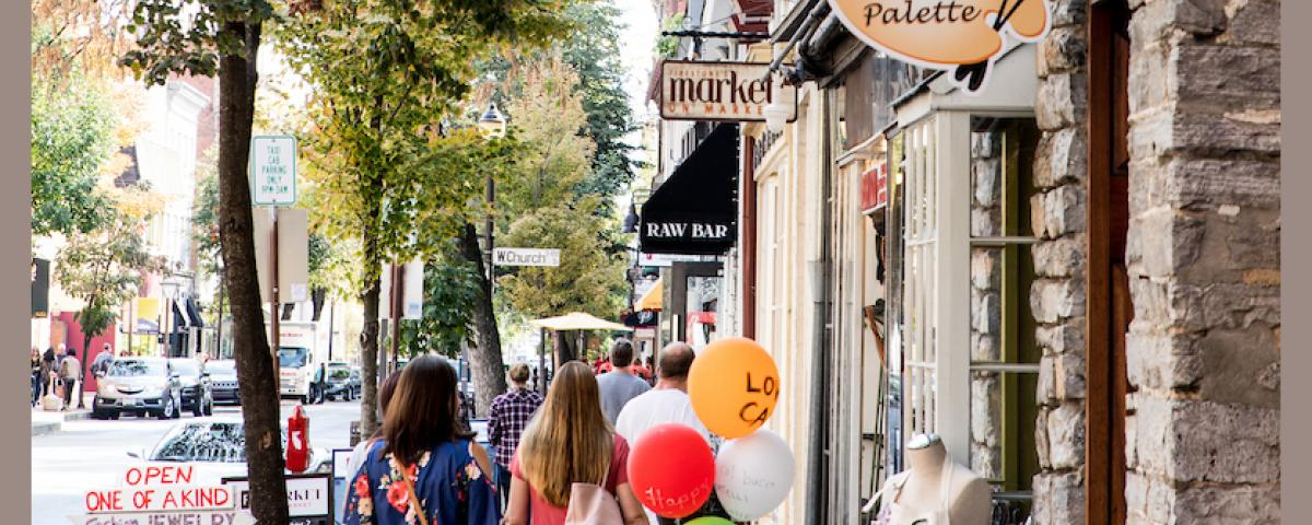 Visitors find many opportunities to browse and enjoy Downtown Frederick's popular shopping district.