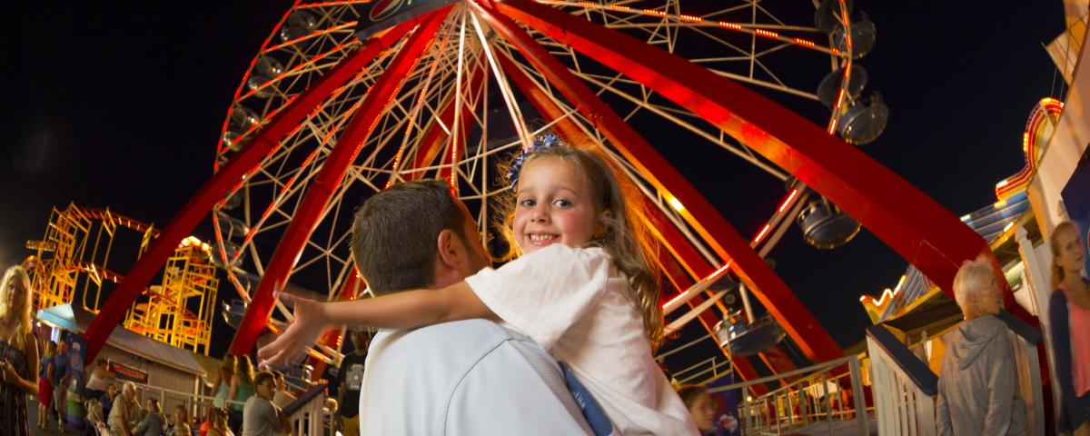 Head to the O.C. Boardwalk for family fun rides like the Ferris Wheel.