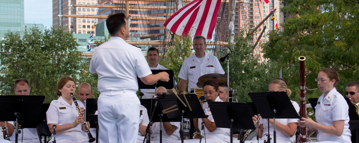 Navy Band playing at Baltimore's Inner Harbor