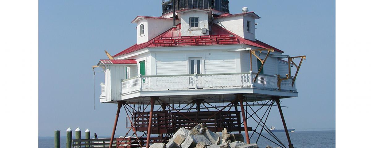 Accessible only by boat, Thomas Point Shoal Lighthouse is one of only 10 in the country designated a National Historic Landmark.