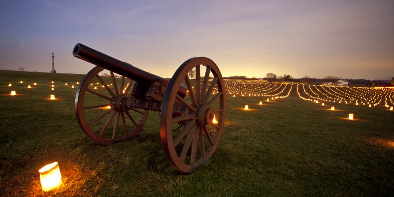 On the first Saturday in December, Antietam National Battlefield is illumined with 23,000 candles, marking the number of soldiers, both Union and Confederate, who were killed, wounded or missing.