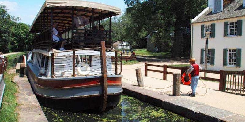 Ride on a reproduction canal barge at the C&O Canal National Historic Park in Potomac