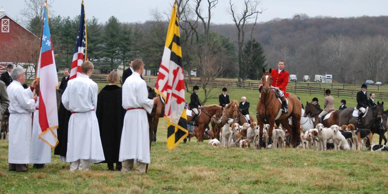 It is a long-standing tradition in the Worthington Valley for the Greenspring Valley Hounds to meet at St. John's Church, Western Run Parish on Thanksgiving morning for the annual Blessing of the Hounds.