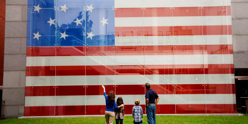 See the Star-Spangled Banner Flag House, the home where young Mary Pickersgill worked alongside others to hand sew the fifteen-star fifteen-stripe flag that flew over Fort McHenry in the Battle of Baltimore.