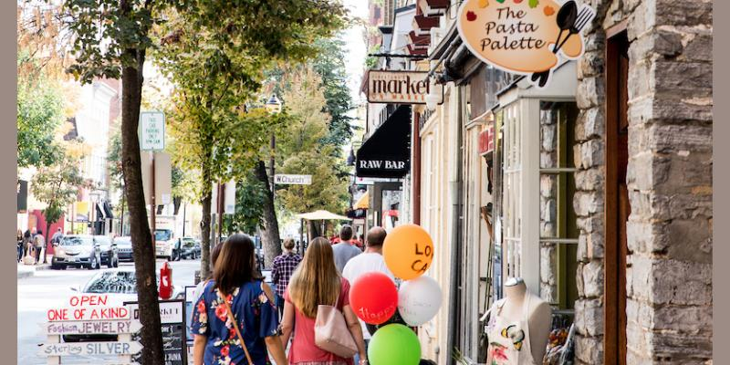Visitors find many opportunities to browse and enjoy Frederick's popular shopping district.