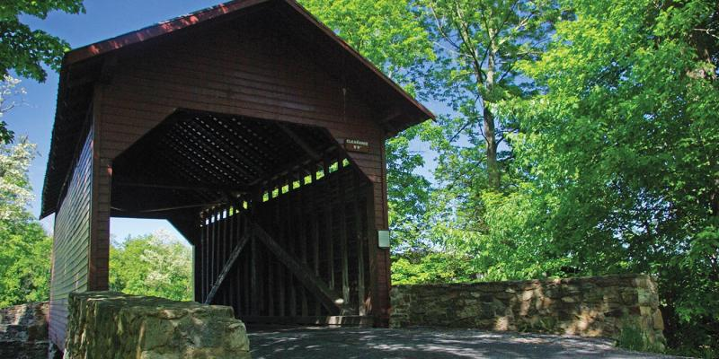 Roddy Road Covered Bridge, one of three remaining covered bridges in the area, is a great place for a picnic just off the byway.