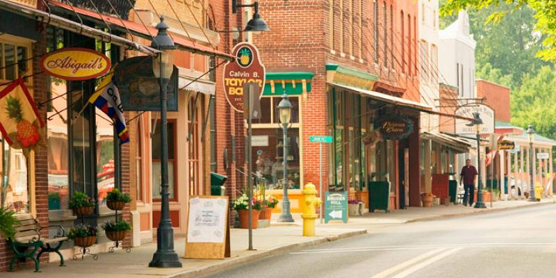 The red brick buildings in the historic town of Berlin offer antiques, jewelry, restaurants and gift shops.