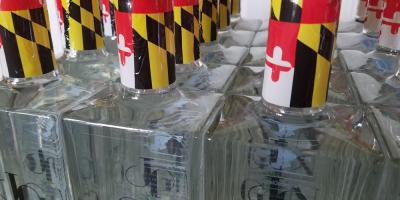 Maryland flag topped bottles