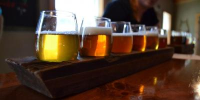 Flight of beer at ​​Red Shedman Farm Brewery