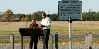 A marker designates Edward Brodess Farm—a property along Greenbrier Road near Blackwater Refuge that is historically recognized as Harriet Tubman's childhood home.