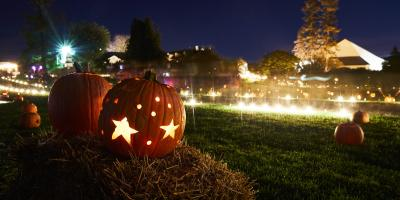glowing pumpkins at night