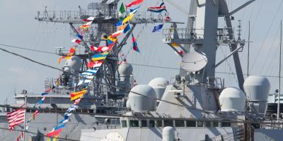 Navy Warships visit Baltimore's Inner Harbor