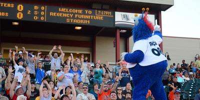 Fans at a Southern Maryland Blue Crabs Game Cheer with Mascot